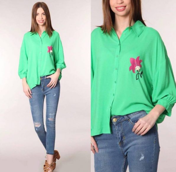 Зелена риза с Цвете