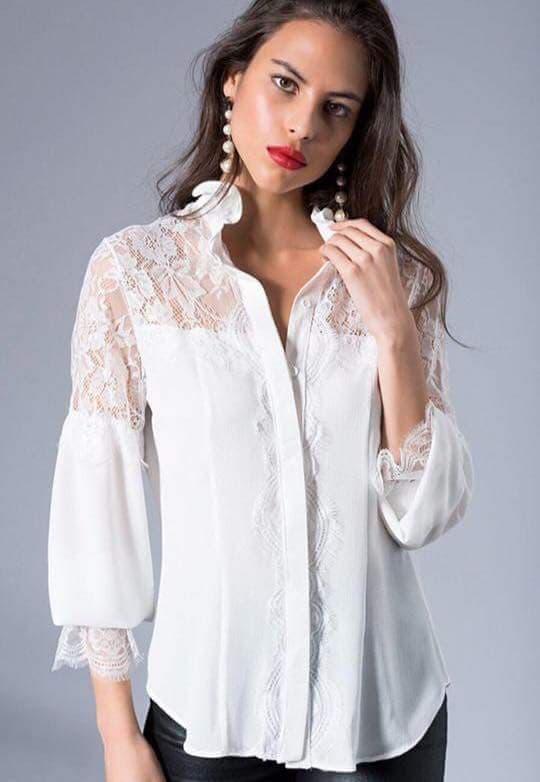 Прекрасна бяла риза с дантела