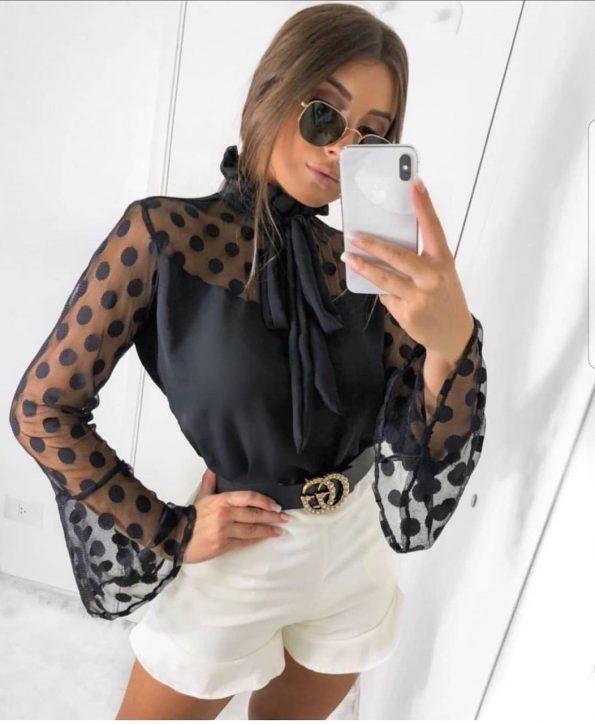 Страхотна черна мрежеста блузка