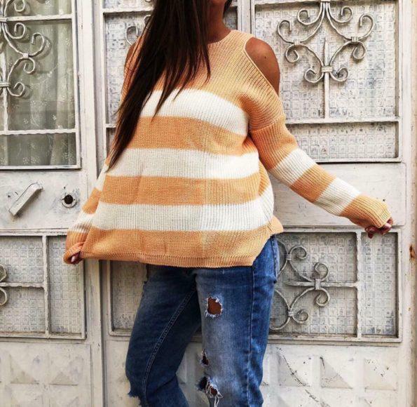 Пуловер Анелия в бяло и оранжево