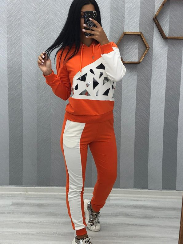 """""""REE0014""""Спортен комплект в оранжево и бяло"""