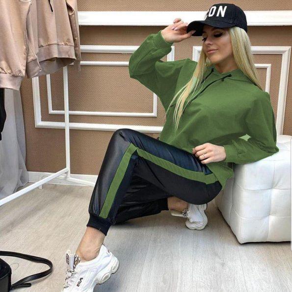 """""""REE0038""""Спортен комплект в черно и зелено"""